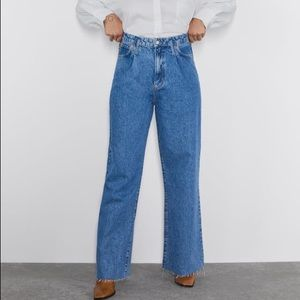 Zara High Waist Wide Leg Jeans 10